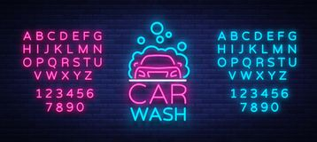 Car wash logo vector design in neon style vector illustration isolated. Template, concept, luminous signboard icon on a. Car wash theme. Luminous banner stock illustration
