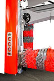 Car wash machine. Automatic red car wash machine with rubber brush Stock Image