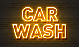 Car wash neon sign on brick wall background. Royalty Free Stock Photos