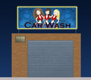 Car wash at night. Illustration about a car wash building  with girls and bubbles in the neon sign Stock Photo