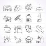 Car wash objects and icons Stock Image