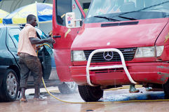 A car wash. This photo was taken wednesday, october8,2014 at 13 o'clock. It's an example of car wash in ivory coast Stock Photography