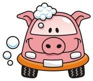 Car wash pig. A pig cartoon car washing with soap bubbles Royalty Free Stock Photos