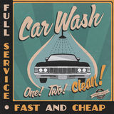 Car wash retro poster Royalty Free Stock Photo