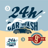 Car wash retro style banner. Car wash offer poster Royalty Free Stock Photos