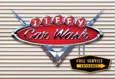 Car Wash Retro Vintage Chrome Sign. Cadillac Jiffy Full Service Metal 50`s vector illustration