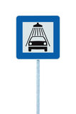 Car wash road sign, post pole, traffic roadsign, blue isolated vehicle shower washing service roadside signage Stock Images