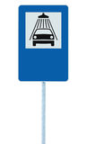 Car wash road sign on post pole, traffic roadsign, blue isolated vehicle shower washing service roadside signage, blank empty. Copy space royalty free stock photo
