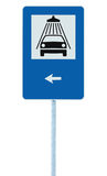 Car wash road sign on post pole, traffic roadsign, blue isolated vehicle shower washing service roadside signage left pointer Stock Photography