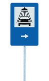 Car wash road sign on post pole, traffic roadsign, blue isolated vehicle shower washing service roadside signage plus right arrow Stock Image