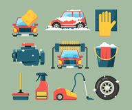 Car wash service. Dirty machines in clean building water bucket wiping sponge vector icons cartoon. Wash car service, clean transport equipment illustration royalty free illustration