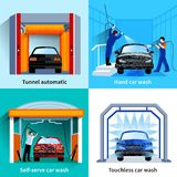 Car Wash Service 4 Flat Icons Stock Images