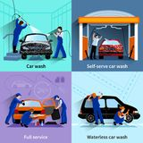 Car Wash Service 4 Flat Icons royalty free illustration