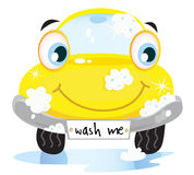 Car wash service - happy yellow automobile Stock Image