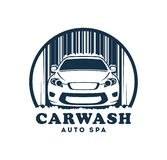 Car wash service icon with replaceable text vector illustration