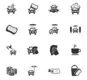 Car wash service icon set Stock Photos