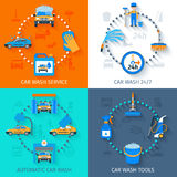Car wash service  4 icons flat. Car wash full automatic 24h service facilities with touchless equipment 4 flat icons composition abstract vector illustration Royalty Free Stock Image
