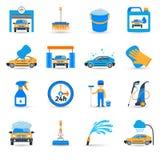 Car wash service icons set stock illustration
