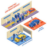 Car Wash Service Isometric Compositions. With automatic cleaning girls in bikini on white background isolated vector illustration Royalty Free Stock Photos