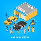 Car Wash Service Isometric Illustration Royalty Free Stock Photos