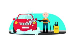 Car wash service. Man in. Blue and orange uniform washing red car with soap and water. Machine, front view. Man who wash machine. Car wash concept. Flat vector Stock Images