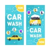 Car Wash Service Vertical Banner Card Set. Vector. Car Wash Service Vertical Banner Card Set for Your Business Flat Design Style. Vector illustration vector illustration