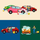 Car wash services, auto cleaning with water and soap. Car interior Royalty Free Stock Photos
