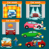Car wash services, auto cleaning with water and soap. Car interior vector illustration