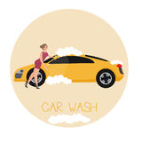 Car wash services illustration by sexy girl. Vector Royalty Free Stock Photo