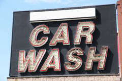 Car wash sign. Isolated with sky background Royalty Free Stock Image