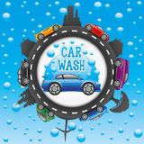 Car wash sign. Car wash sign on a blue background with bubbles royalty free illustration