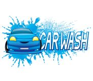 Car wash sign. Car wash sign with blue car and water splash vector illustration