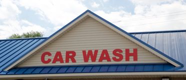 Car wash sign on a commercial car wash business Royalty Free Stock Image