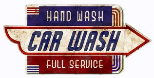 Car Was Sign Retro Vintage Garage Full Service Hand Wash. Car wash sign full service hand Retro Vintage Rustic antique old car auto 1940 1950 1930 1960 stock illustration