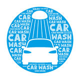 Car wash sign. Car wash round sign on a white background Royalty Free Stock Photography