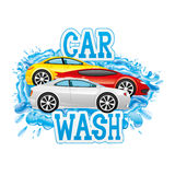 Car wash sign. Car wash with water splashes and colored cars Stock Image