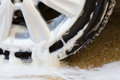 Car wash with soap, car cleaning Royalty Free Stock Photos