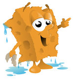 Car Wash Sponge Cartoon. Vector illustration of a cute sponge character all ready to wash a car stock illustration