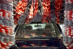 Car Wash Station. Rolling brushes Royalty Free Stock Images