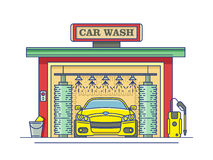 Car wash station. Service auto clean, garage and transport. Vector illustration Royalty Free Stock Photo