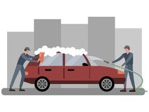 Car wash, two employees wash the automobile in red. In minimalist style Cartoon flat Vector. Illustration vector illustration