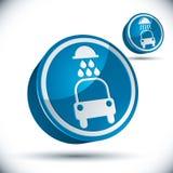Car wash vector 3d icon. Car wash vector 3d icon isolated on white background vector illustration