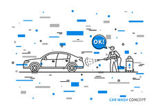 Car wash vector illustration with colorful elements. Touchless carwash line art concept stock illustration