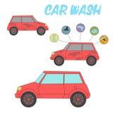 Car wash vector illustration. Car wash doodle hand drawn vector illustration stock illustration