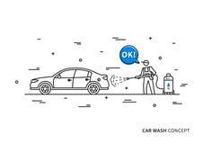 Car wash vector illustration. Touchless carwash line art concept vector illustration