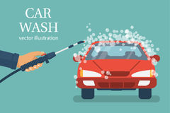 Car wash. vector. Car wash. Man worker washing car. service. Auto service station. Vector illustration flat design. Isolated on background. Vehicle in foam vector illustration
