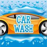 Car wash. Vector sign. Car wash. Orange car on blue background Royalty Free Stock Photos