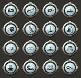 Car wash shower service icons set. Car wash vector stylish round buttons for mobile applications and web vector illustration