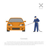 Car wash. Worker washing a automobile on a white background. Repair and maintenance . Vehicle workshop. Stock Photos