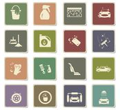 Car washer icon set. Car washer icons for user interface design stock illustration